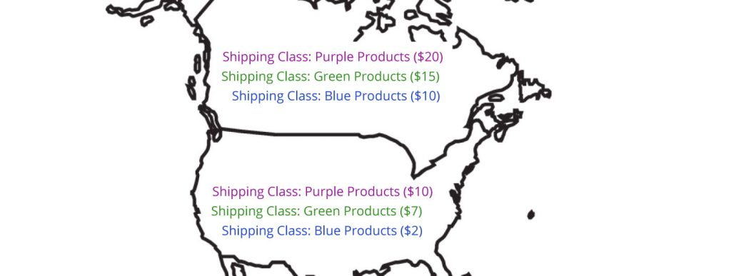 map of us and canada, which shipping classes in each and different pricing