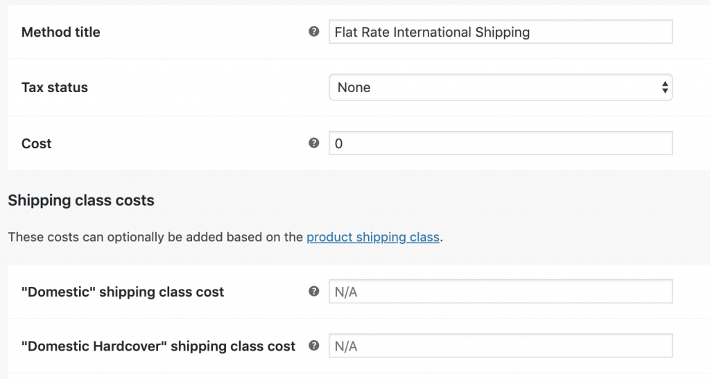 screenshot of the woocommerce shipping classes