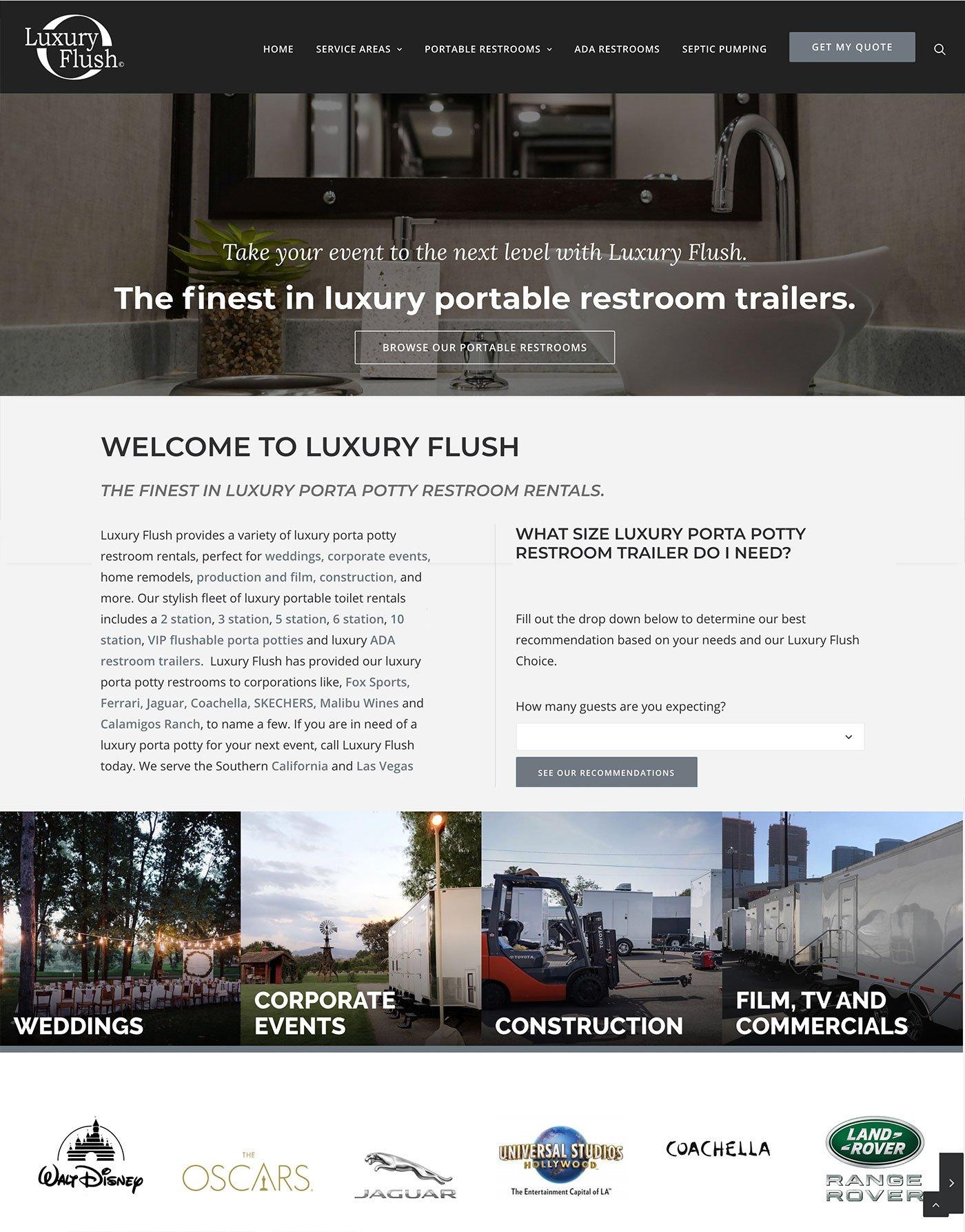 luxury Flush homepage