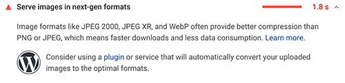 alert from Google speedtest about using webp images