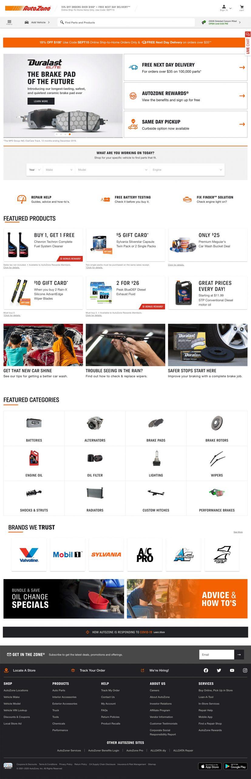 screenshot of autozone website